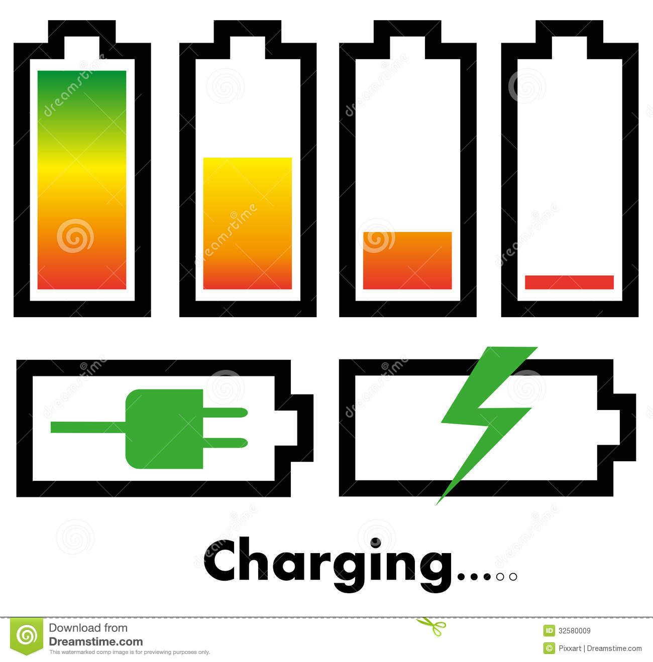 Charging Battery Symbol Battery charge icons royalty ...