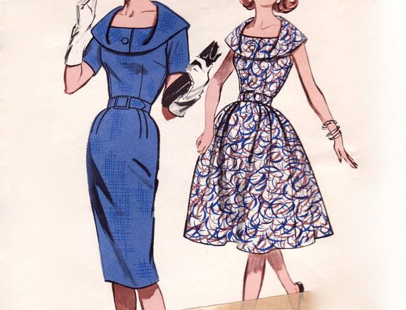 Vintage 1950s Sewing Pattern - Unusual Draped Collar Dress with Full ...