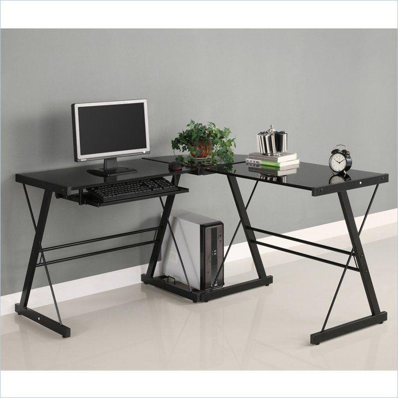 Corner L Shaped Glass Top Computer Desk In Black Glass Corner Desk Home Office Furniture Home Decor
