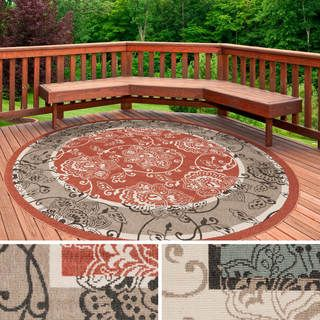 Charming Meticulously Woven Janelle Contemporary Floral Indoor/Outdoor Area Rug (7u00273  Round)