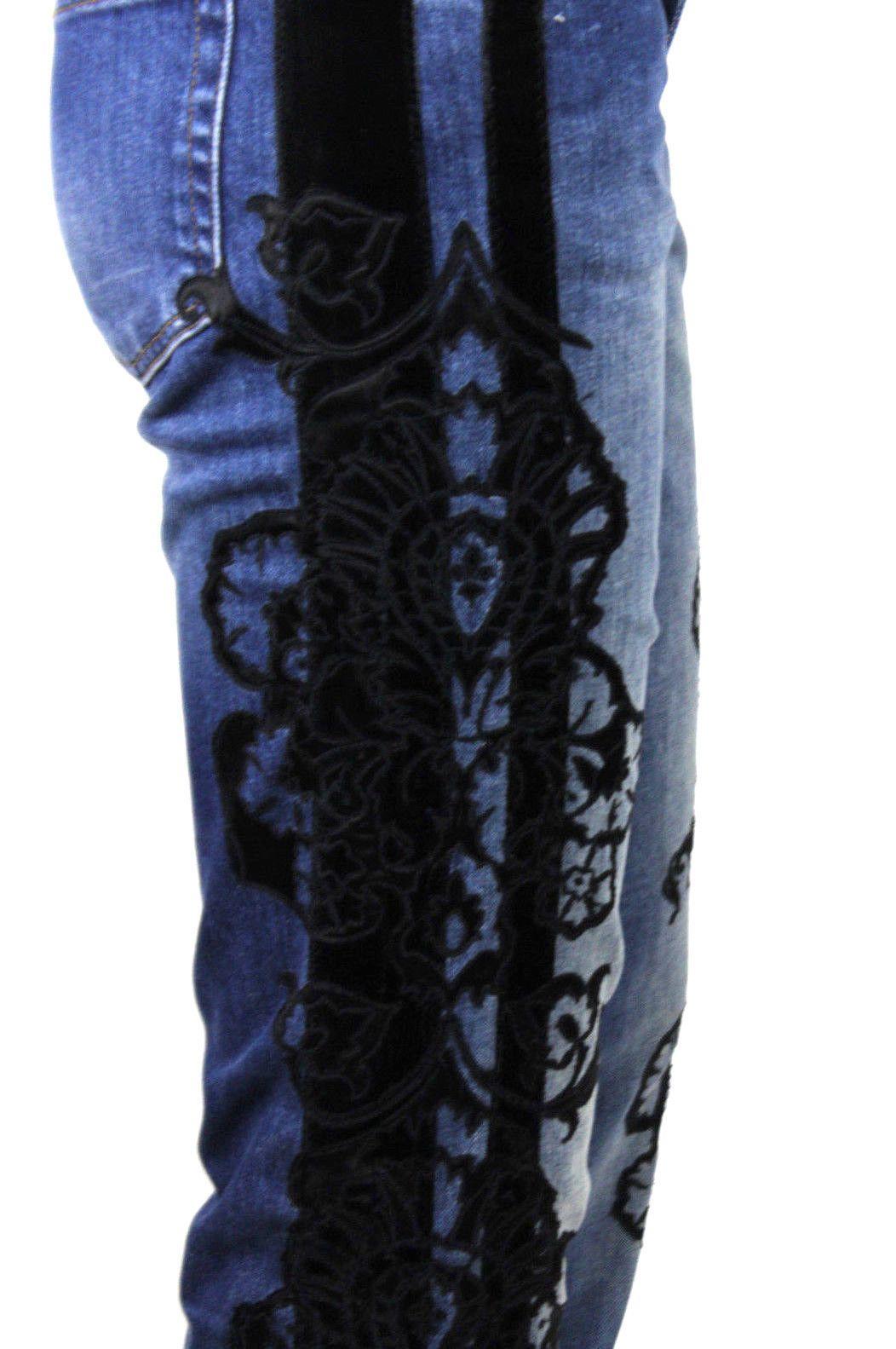 roberto cavalli blue medium wash velvet silk embroidered denim