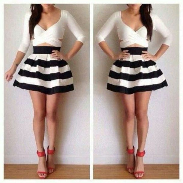 Black Skater Skirt Outfits | blouse skirt shoes black white short cute dressy dress style skater ...