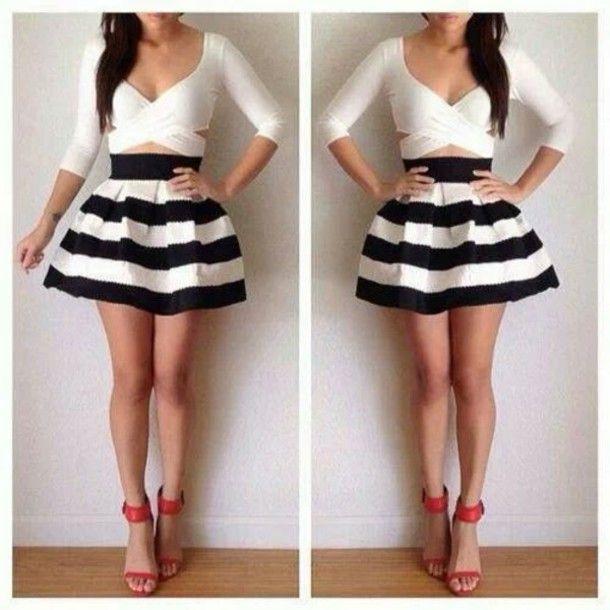 Black Skater Skirt Outfits | blouse skirt shoes black white short cute dressy dress style skater ...