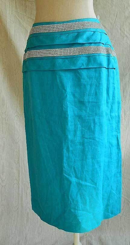 High Waist Skirt Maxi MIDI Vintage 70s Aqua Florence Crystal Belted Skirt | eBay