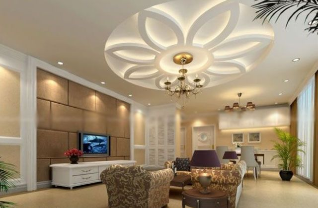 Modern Ceiling Designs For Small Modern Living Room With Flat Screen