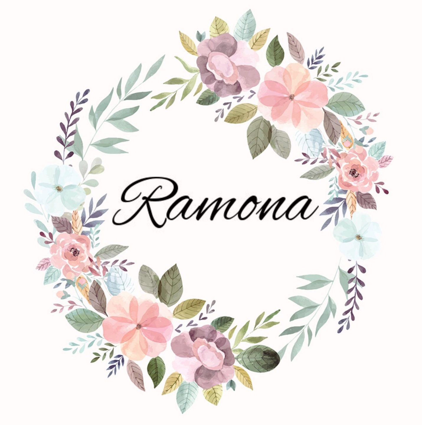 Girls name in floral wreath RAMONA Ramona, Ruhmoenuh