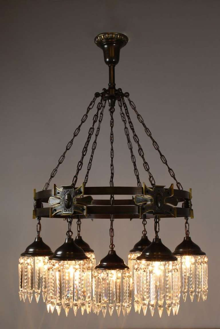Arts And Crafts Gothic Style Crystal Chandelier Sevenlight - Chandelier crystals crafts