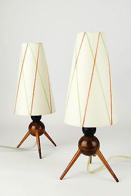 2 X 1950s Tripod Bedside Lamps Mid Century Danish Modern 30s 60s