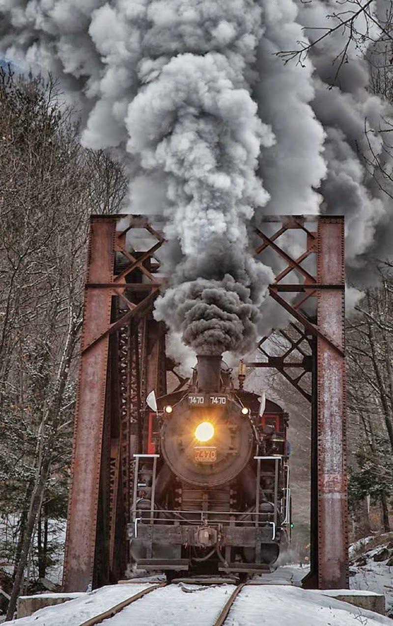 Winter Steam Engine, New Hampshire, United States