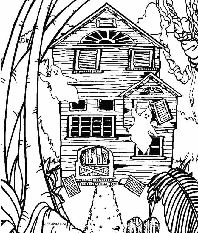 Printable Haunted House Coloring Pages For Kids Cool2bkids House Colouring Pages Haunted House Drawing Whale Coloring Pages
