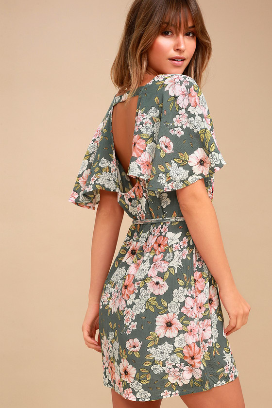 1161c9cae5 Pick up the Billabong Fine Flutter Sage Green Floral Print Mini Dress for a  flirty and feminine look! Sage green