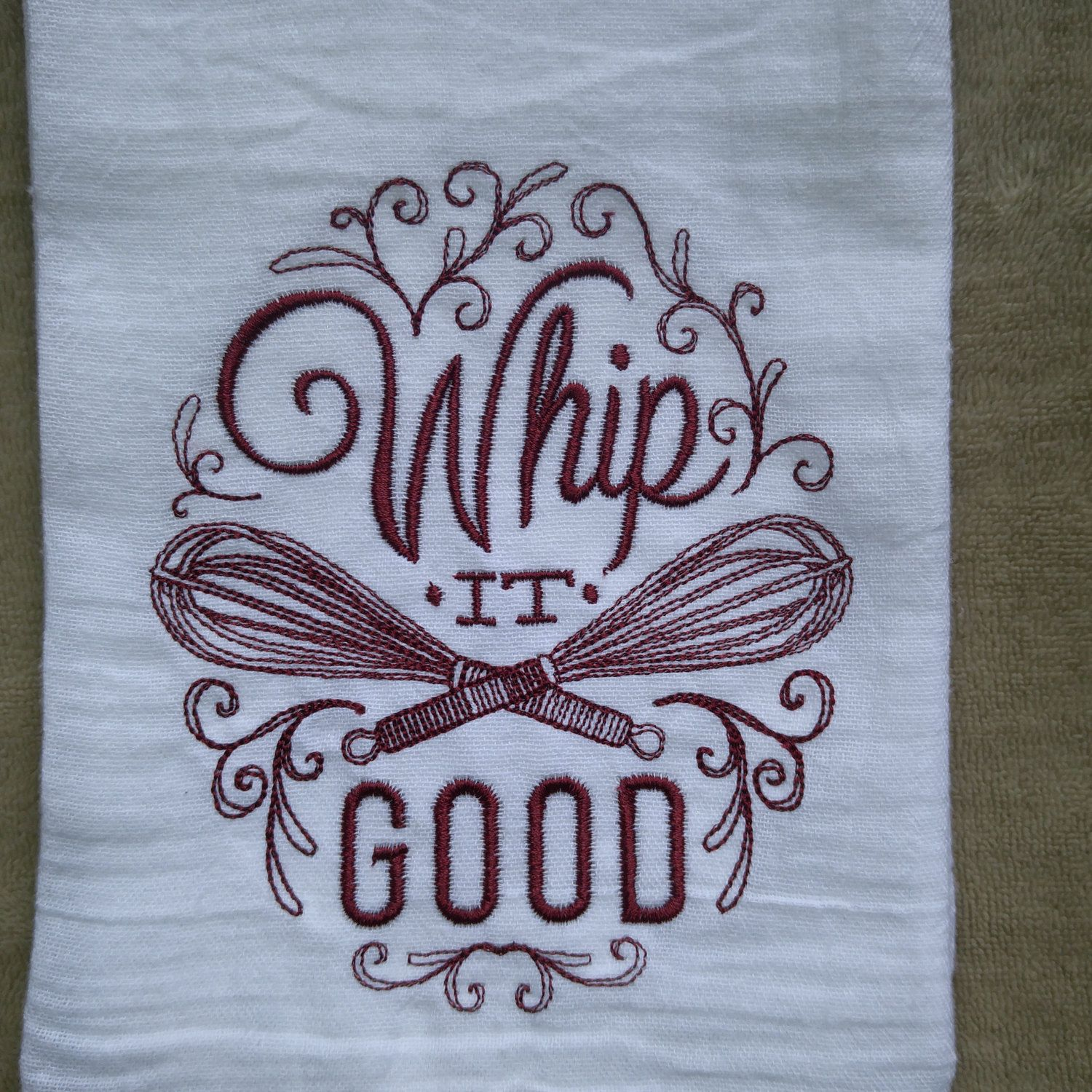 Whip It Good Flour Sack Towel Christmas Kitchen Towels
