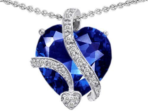 Original Star K(tm) Large 15mm Heart Shaped Created Blue Sapphire Love Pendant in .925 Sterling Silver Star K. $139.99. Certificate of Authenticity Included with this item. Free Chain in a matching metal will be included. Free High End Jewerly Box and Gift Packaging. Free Lifetime Warranty exclusively offered by Finejewelers. Guaranteed Authentic from the Star K designer line