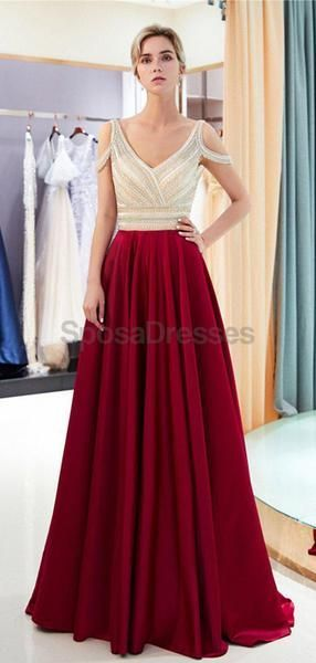 Sexy Backless Off Shoulder Beaded Evening Prom Dresses, Evening Party Prom Dresses, 12028