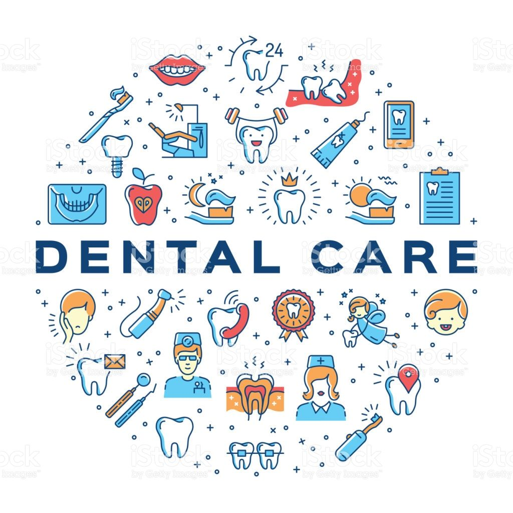 Dental care circle infographics Stomatology icon. Colorful