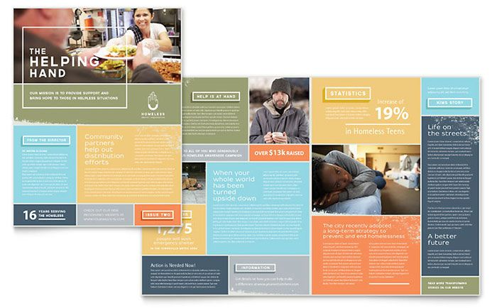 Homeless Shelter Newsletter Design Template by StockLayouts | Type ...