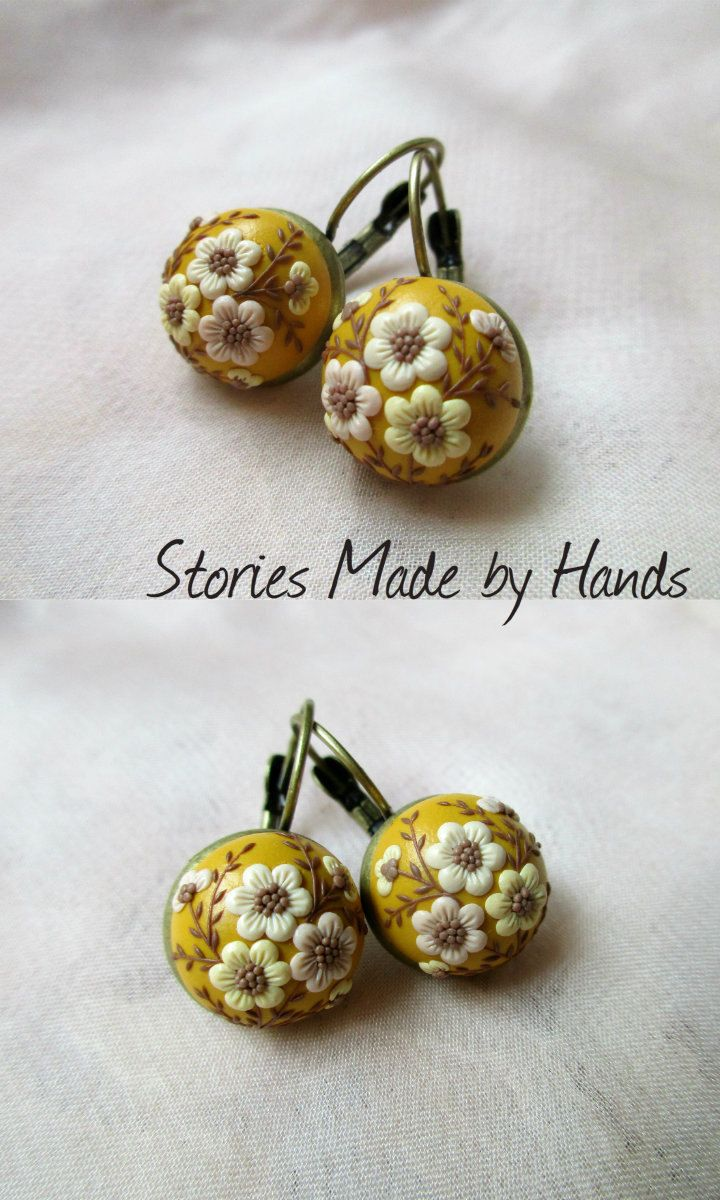 Picnic Autumn Jewelry Yellow Ocher Earrings Fall Drop Earrings For Her  Polymer Clay Embroidery Flowers By