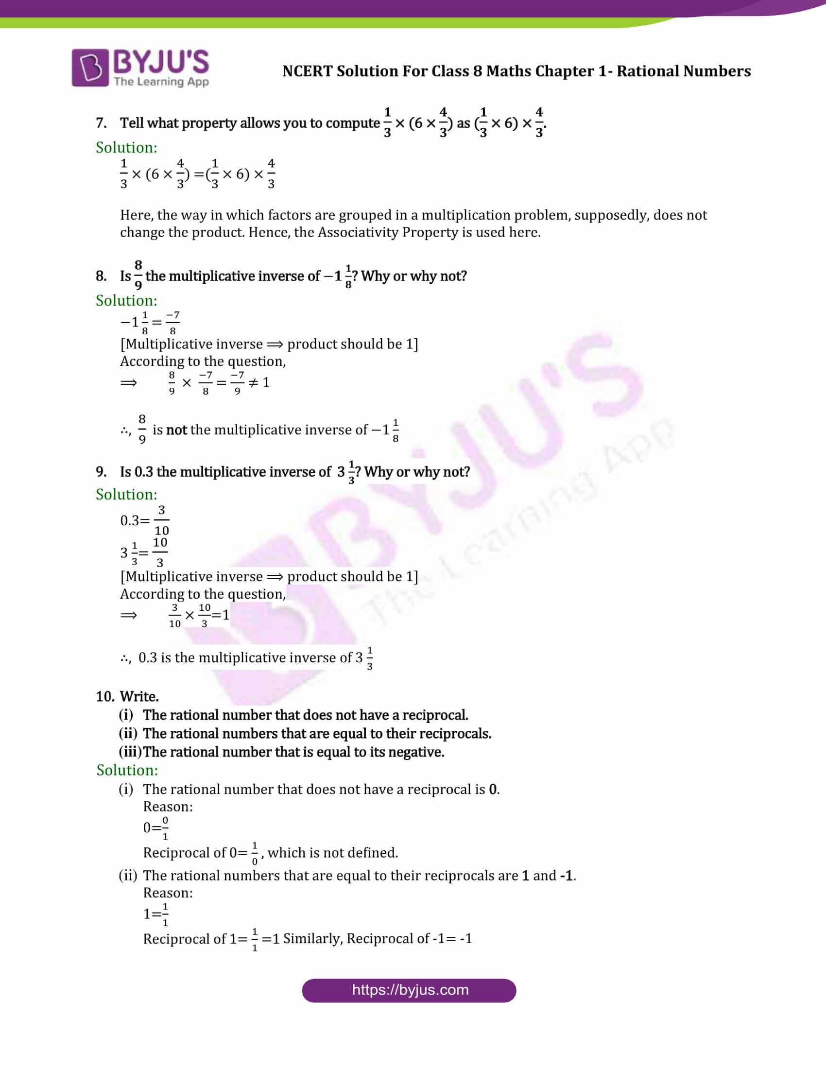 hight resolution of NCERT Solutions for CBSE class 8 Chapter 1 Rational Number part 5   Maths  ncert solutions
