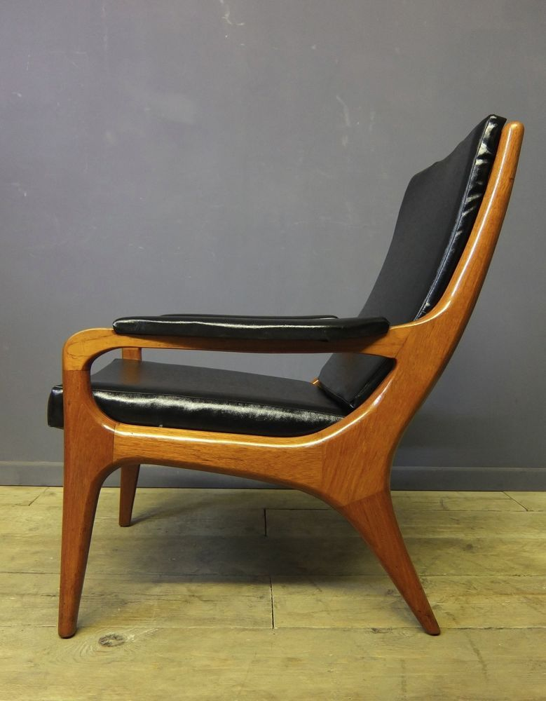 Lovely Mid Century Teak U0026 Vinyl Lounge Chair, Danish Style, Vintage, Retro
