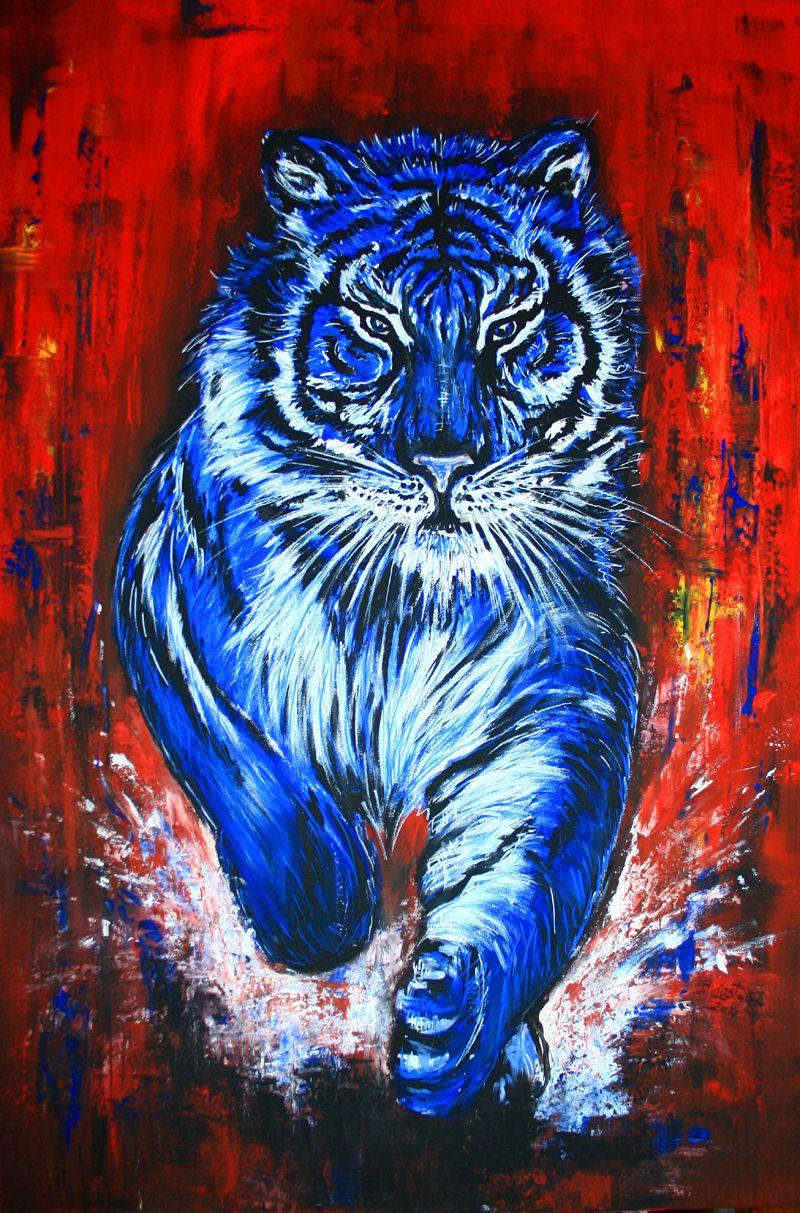 Tiger Gemälde in Acryl, Tierbild auf Leinwand handgemalt, Acrylbild ...