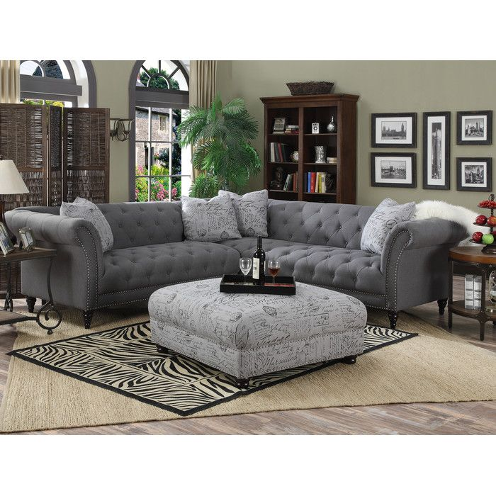 Liberty Reversible Sleeper Sectional | Tufted sectional sofa ...