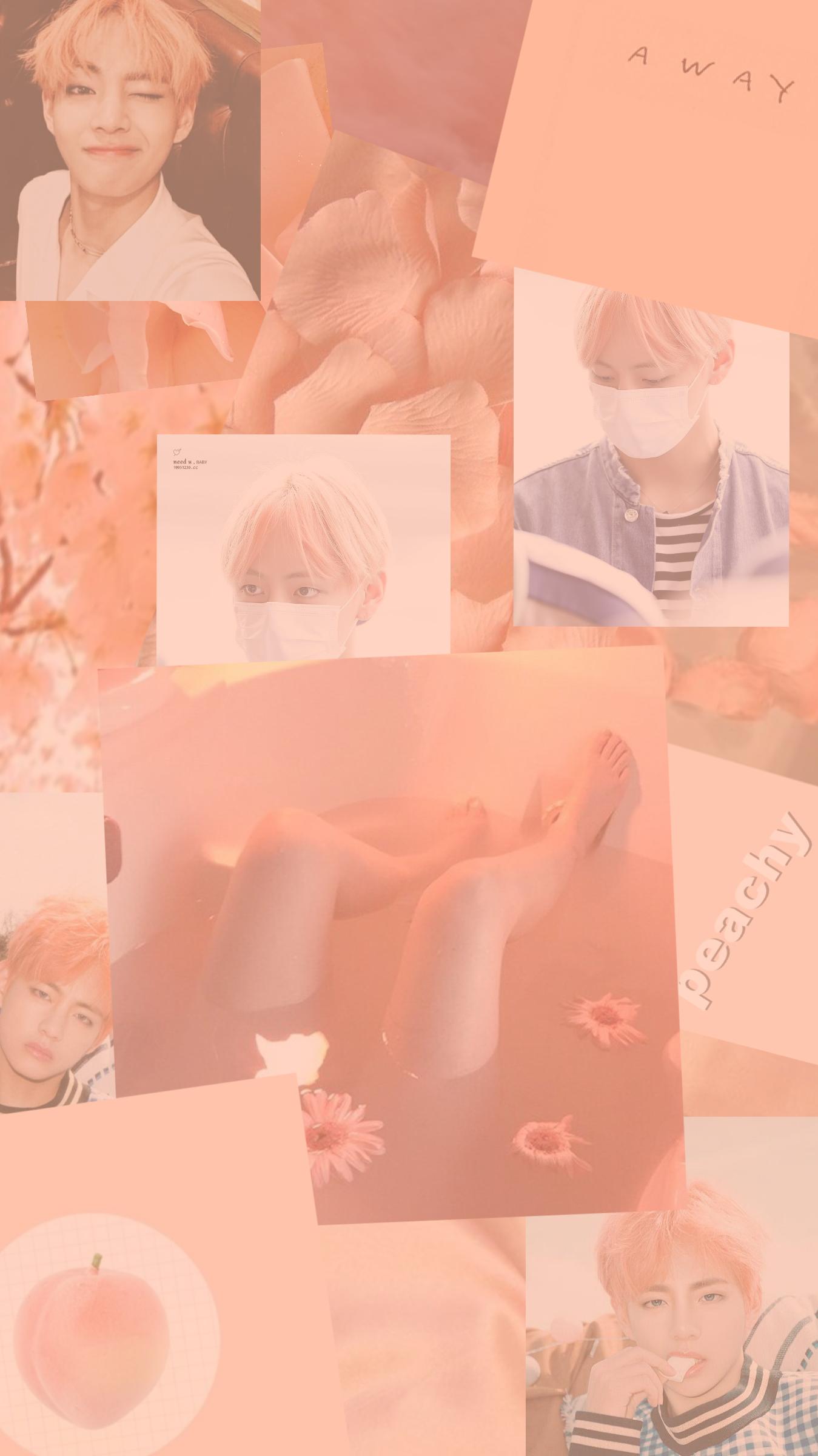 Bts S Kim Taehyung V Peach Aesthetic Peach Wallpaper
