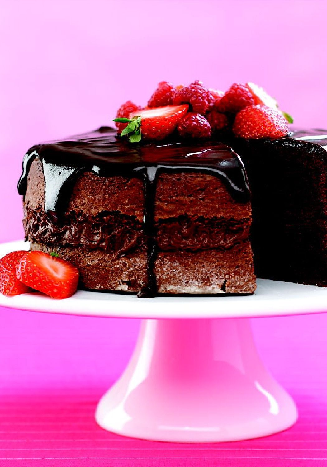 Glazed Chocolate-Sour Cream Cake – By just replacing the water with sour cream in this box mix, the cake is extra moist and tender.