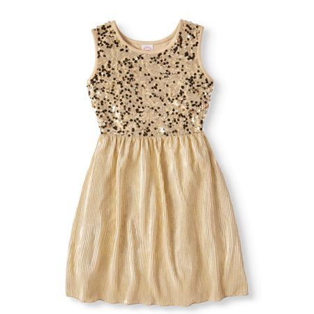 018443933fa3d Girls' Gold Sequin Shimmering Pleated Mesh Holiday Dress - Walmart.com