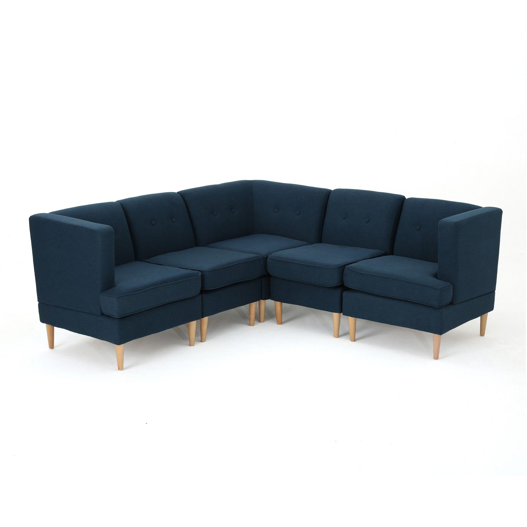 Pleasant 5Pc Milton Sectional Sofa Set Navy Blue Christopher Knight Inzonedesignstudio Interior Chair Design Inzonedesignstudiocom