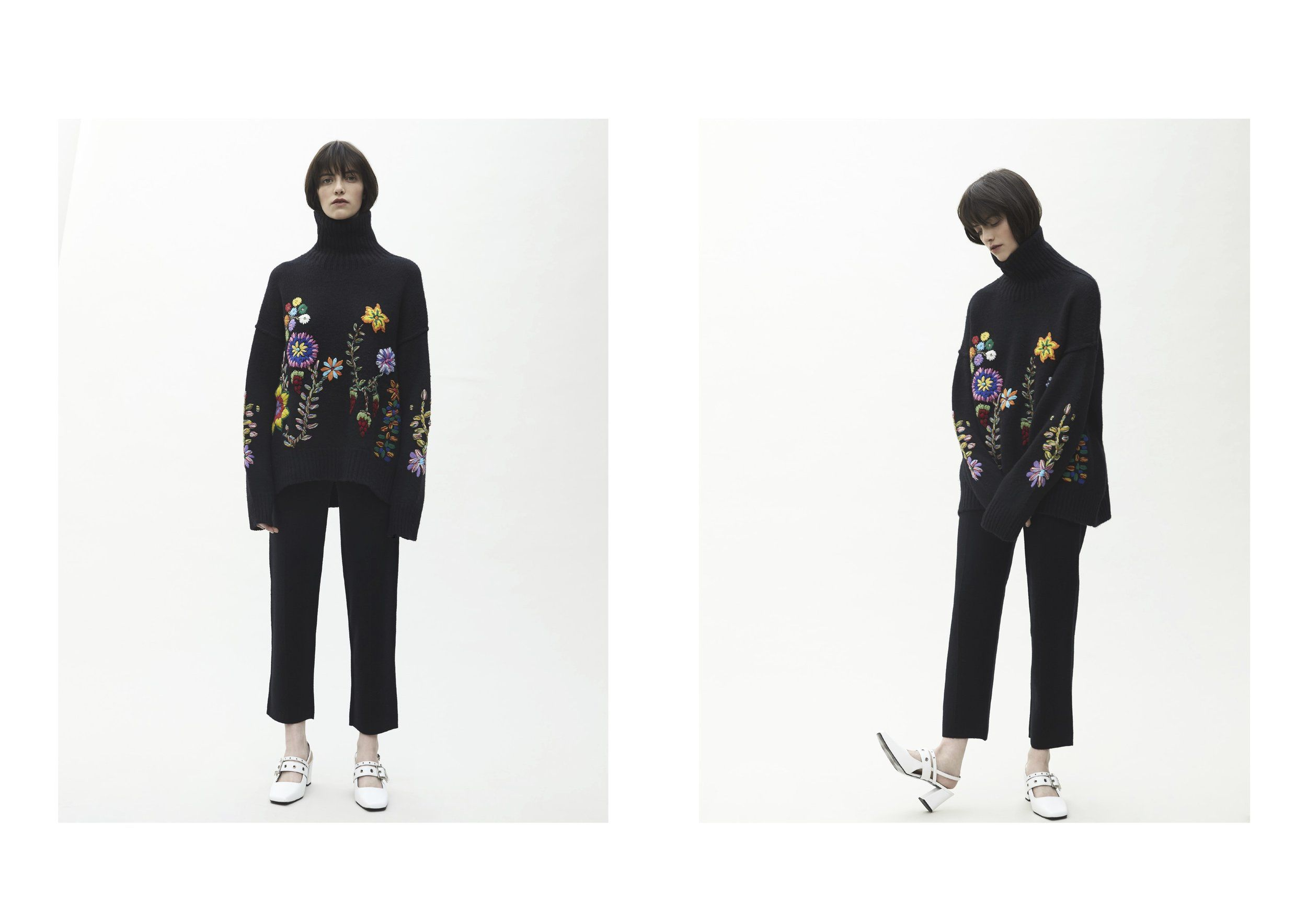 69965364387 MANDKHAI AW18 19 Oversized jumper 2 in black with hand embroidered flowers