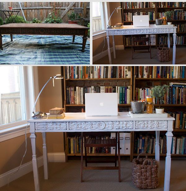 Make A Desk Out Of A Coffee Table Refurbished Table Coffee Table Desk Coffee Table