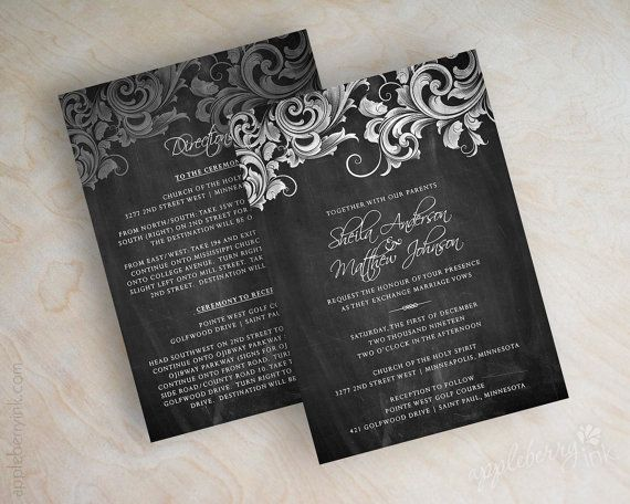 Wedding invitation victorian filigree wedding invitation design