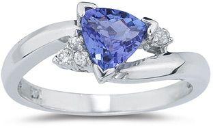 Trillion-Cut Tanzanite and Diamond Ring