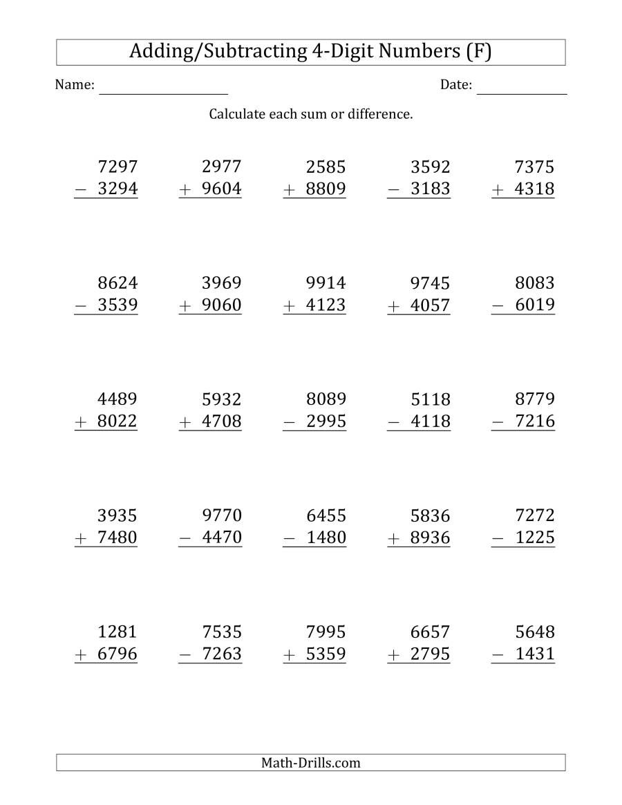 The 4 Digit Plus Minus 4 Digit Addition And Subtraction With Some R Addition And Subtraction Worksheets Decimals Worksheets Addition With Regrouping Worksheets
