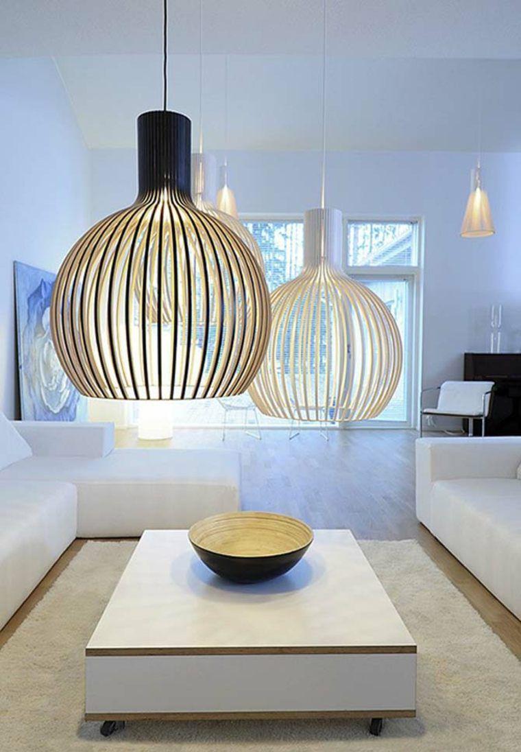 lampe en bambou et déco de salon minimaliste | Suspension