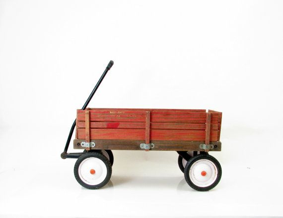 Vintage Wagon 1980s Radio Flyer Red Wagon Removable Wood Sides Era 1980s Color Red Black White Designer Radio Flyer Red Wagon Radio Flyer Vintage