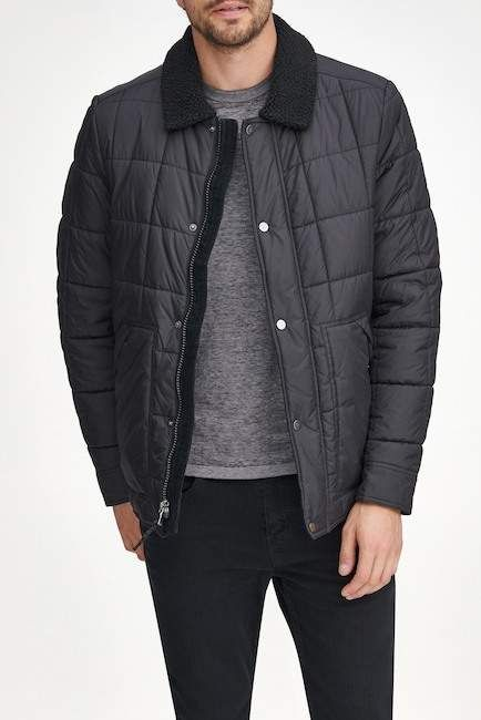 25b2479aff8 Andrew Marc Brixton Faux Shearling Collar   Lined Quilted Jacket