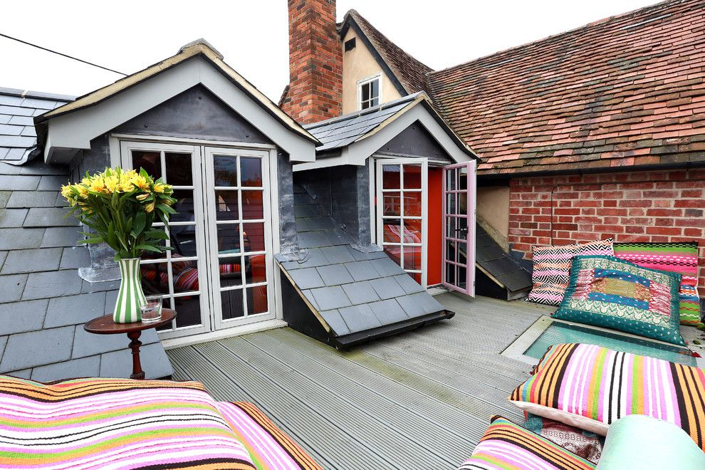 Magnificent floor pouf in Deck Eclectic with Roof Deck next to ...
