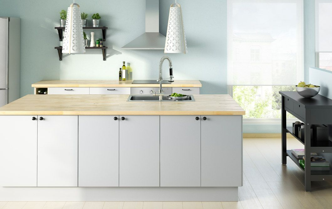 faktum kitchen with appl d grey doors drawers and numer r solid birch worktop home pinterest. Black Bedroom Furniture Sets. Home Design Ideas