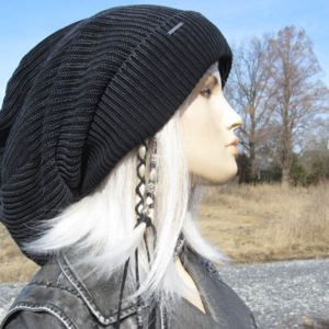 304d1231 Post Apocalyptic Clothing Oversized Slouch Tam Hat Black/Charcoal Gray  Distressed Acid Washed Thick Bulky Chunky Big Baggy Beanie A1894