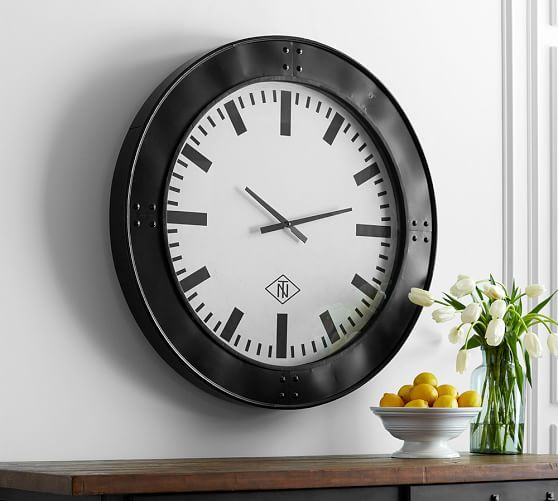 Oversized Black Rivet Wall Clock Pottery Barn