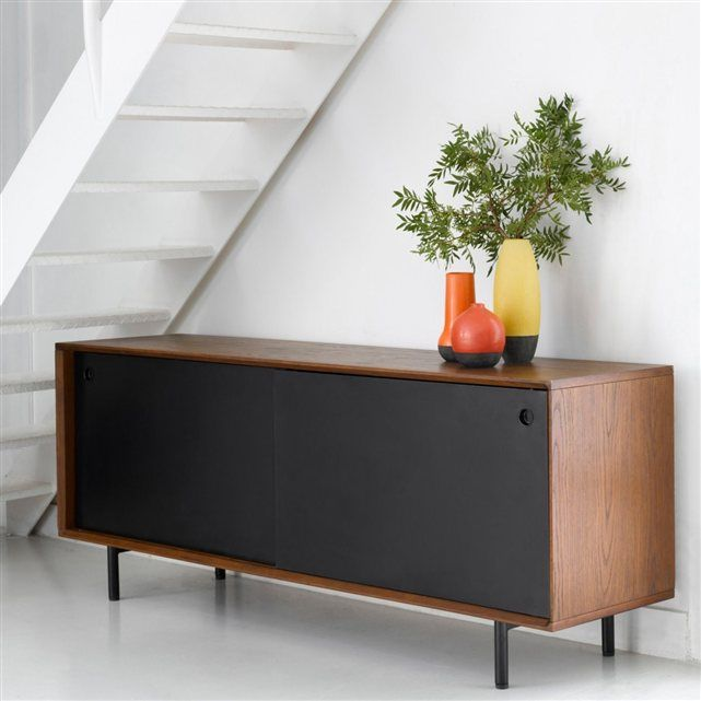 buffet r glisse am pm teint noyer portes noires enfilade chest of drawers comoda. Black Bedroom Furniture Sets. Home Design Ideas