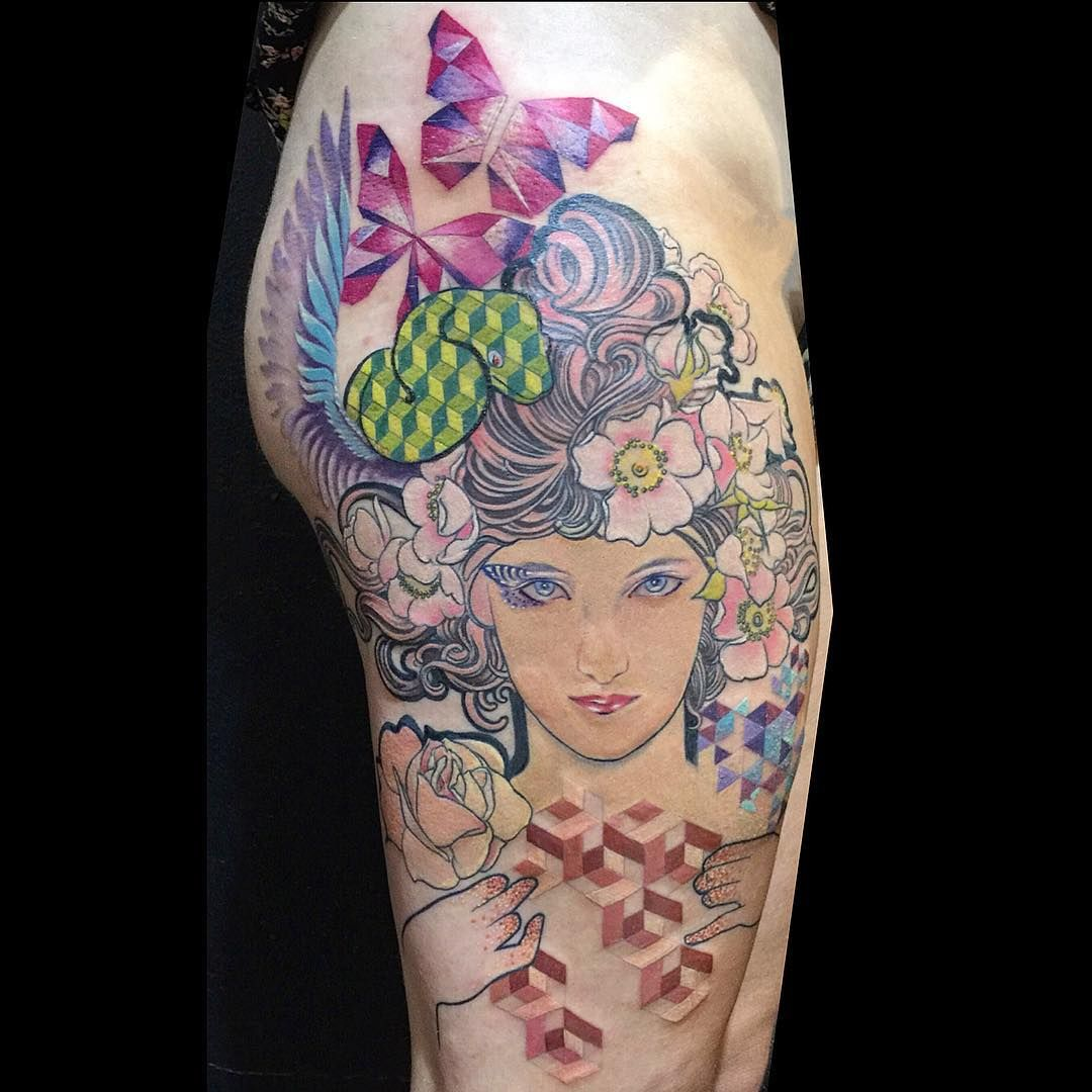 Mucha inspired tattoo by lucy hu at my tattoo in alhambra