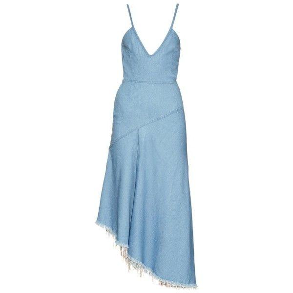 Marques\'Almeida Frayed-hem V-neck midi dress ($178) ❤ liked on Polyvore featuring dresses, asymmetrical dresses, plunge-neck dresses, v neck dress, asymmetric midi dress and denim dresses