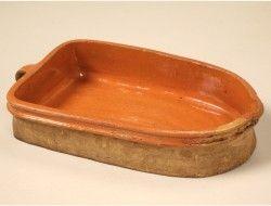 "Antique French Glazed Terracotta ""D"" Baking Vessel"