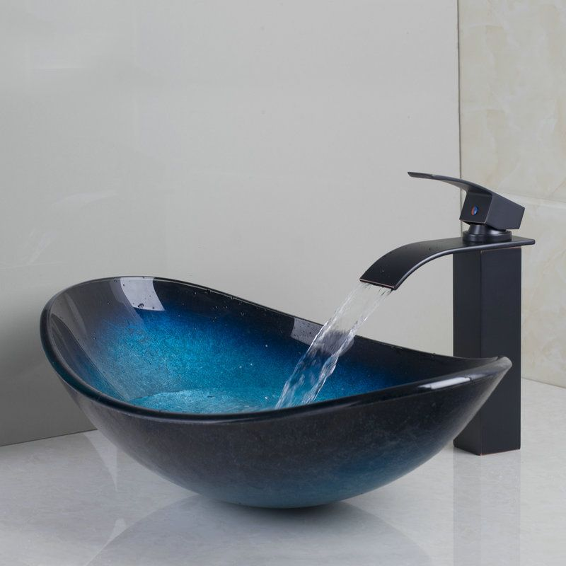 Bathroom Tempered Glass Basin Sink Set With Oil Rubbed Bronze Finish ...