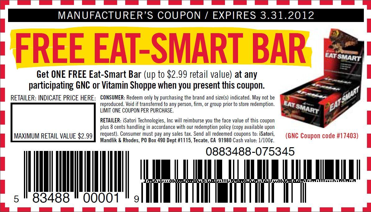 photograph about Gnc Printable Coupons named Totally free GNC Consume-Good Bar Coupon. Click on upon pic for offer