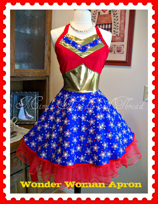 Wonder Woman Apron...made to order. $63.00, via Etsy. Mimisneedle