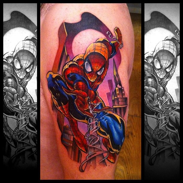 spiderman tattoo by andy walker at creative vandals tattoos i love pinterest spiderman. Black Bedroom Furniture Sets. Home Design Ideas