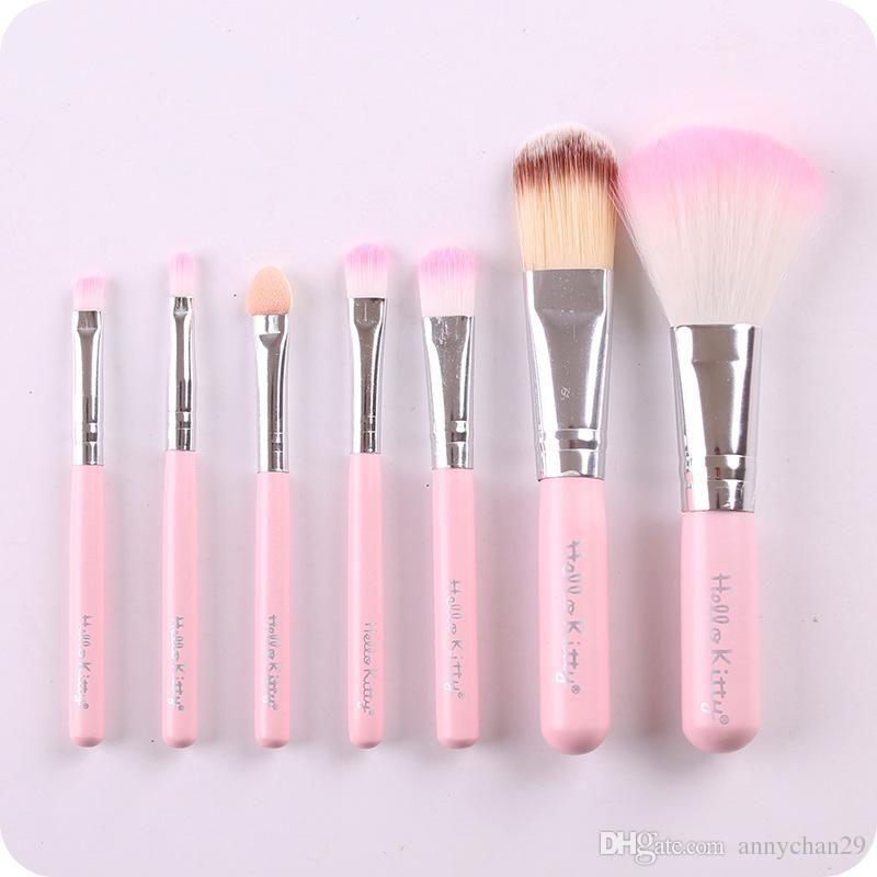 Hello Kitty 7Pcs Mini brushes Set Cute Makeup Brushes Kit